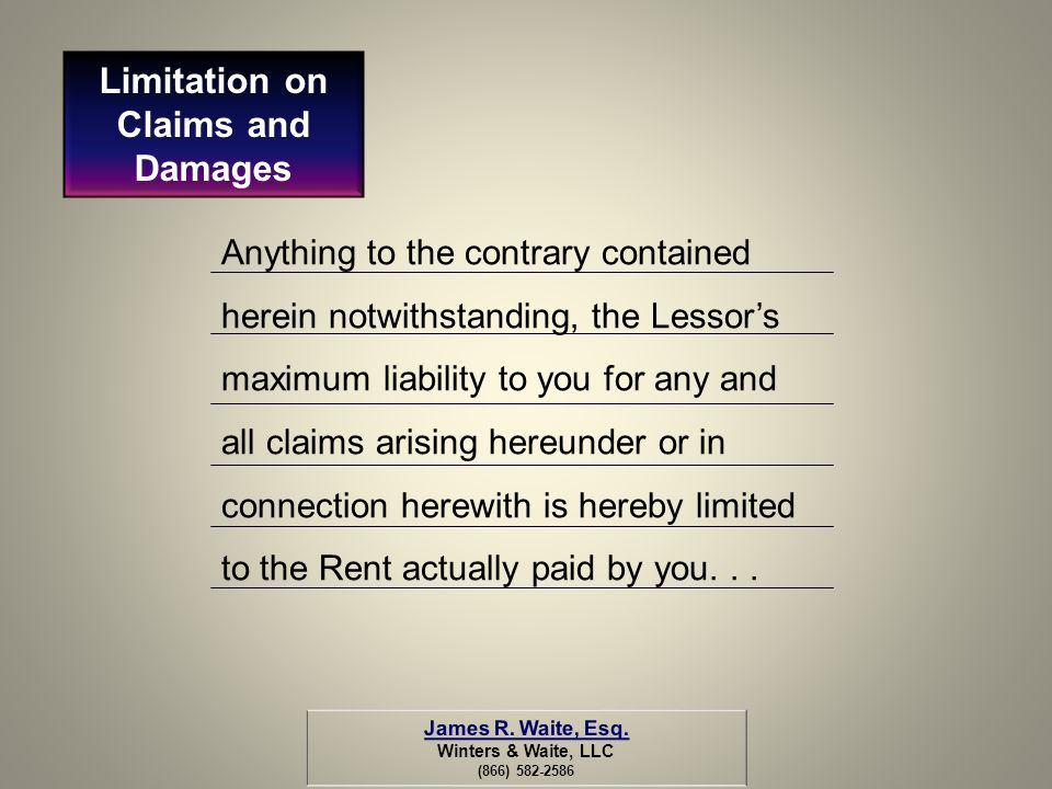 Limitation on Claims and Damages