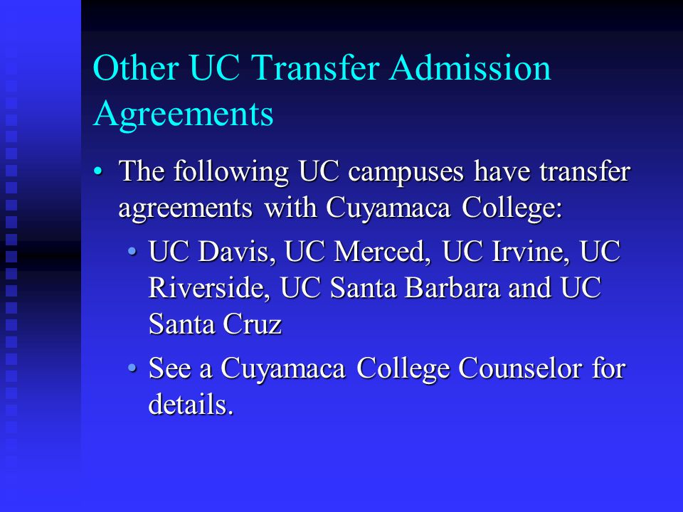 Other UC Transfer Admission Agreements