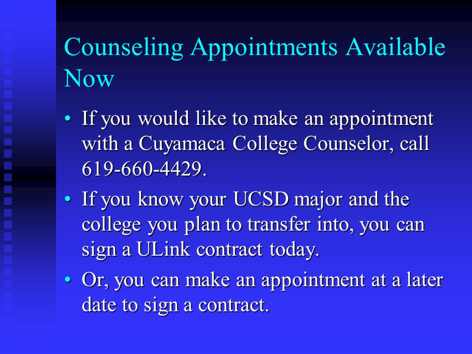 Counseling Appointments Available Now