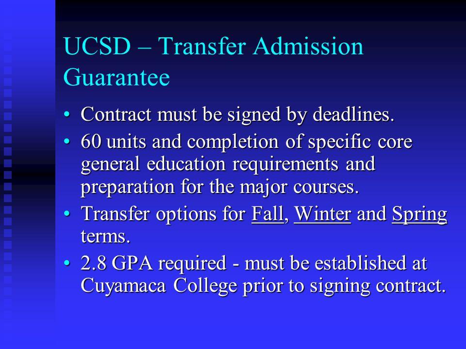UCSD – Transfer Admission Guarantee