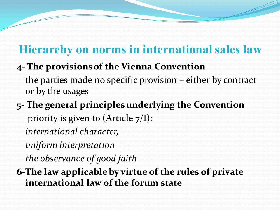 Hierarchy on norms in international sales law