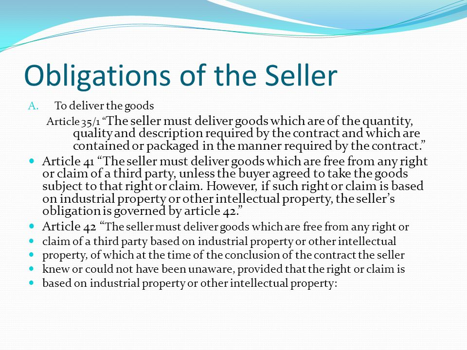 Obligations of the Seller