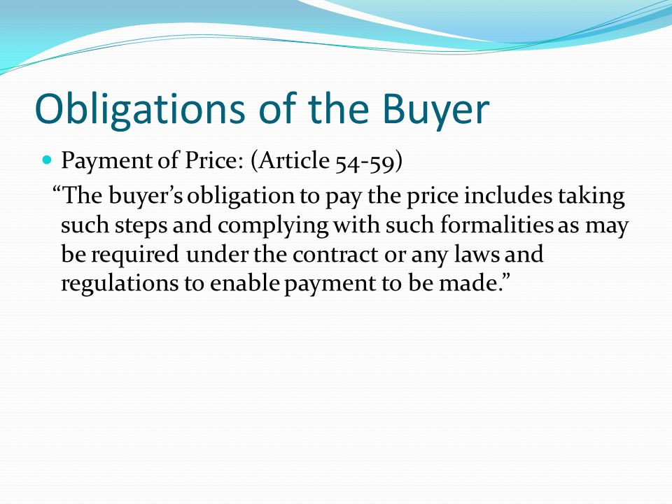 Obligations of the Buyer