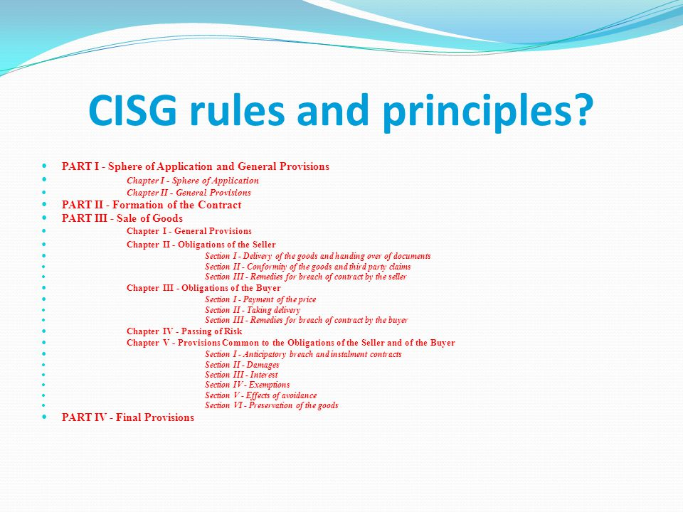 CISG rules and principles