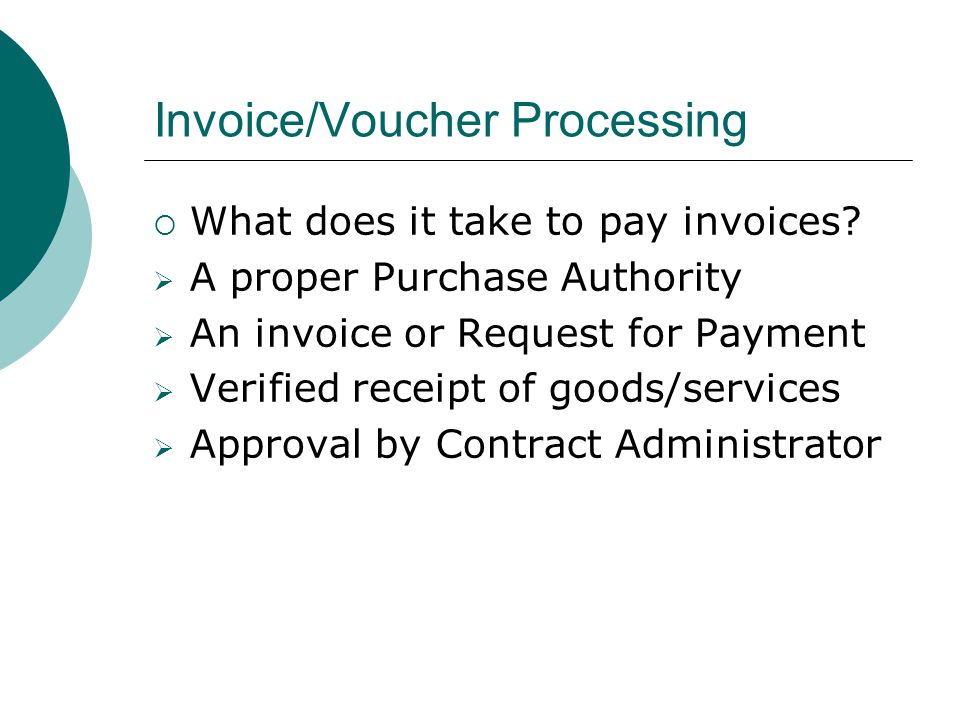 Invoice/Voucher Processing