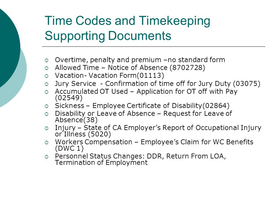 Time Codes and Timekeeping Supporting Documents