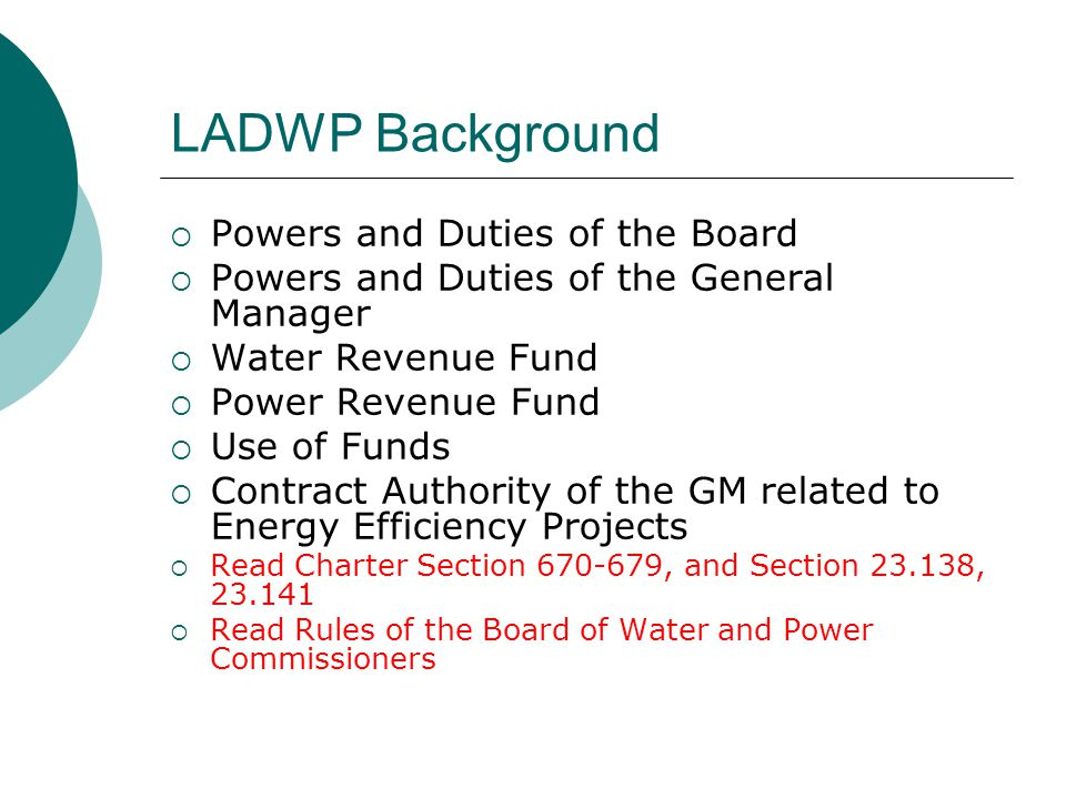 LADWP Background Powers and Duties of the Board