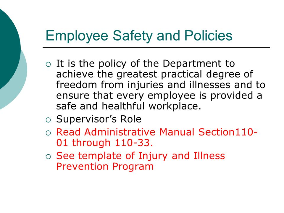 Employee Safety and Policies