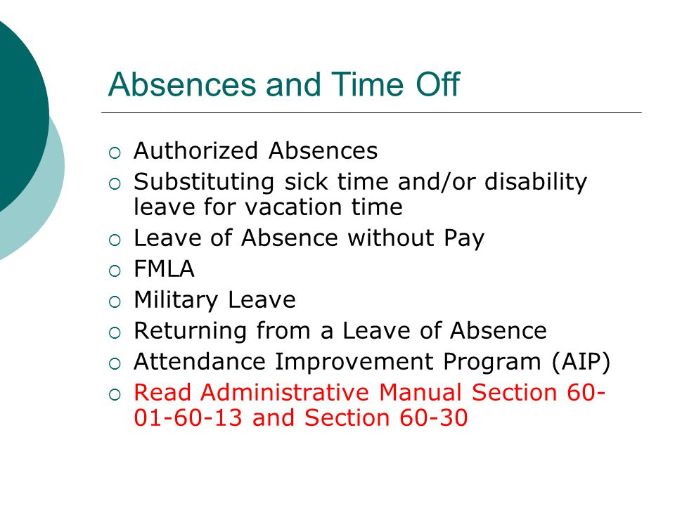 Absences and Time Off Authorized Absences