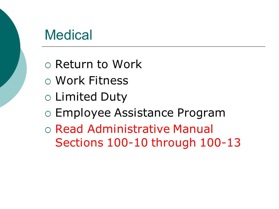 Medical Return to Work Work Fitness Limited Duty
