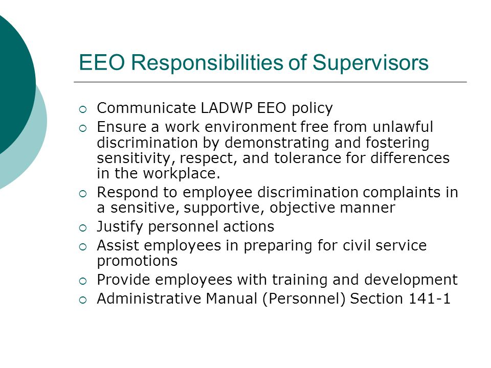 EEO Responsibilities of Supervisors