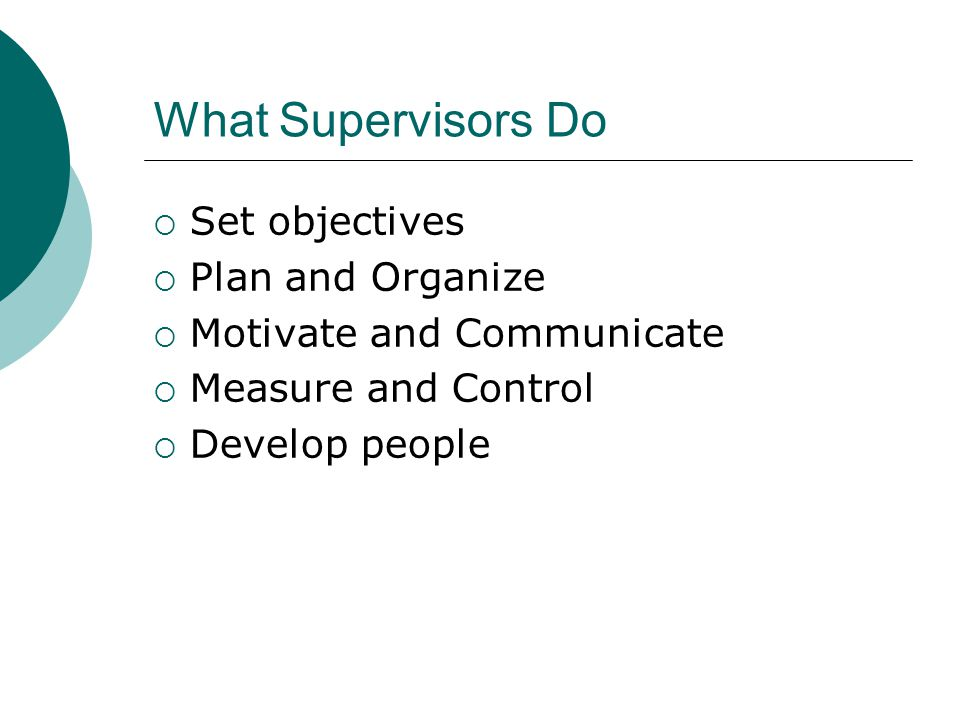 What Supervisors Do Set objectives Plan and Organize