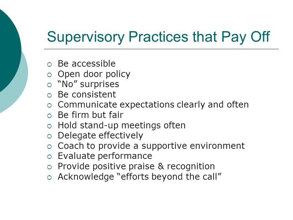 Supervisory Practices that Pay Off