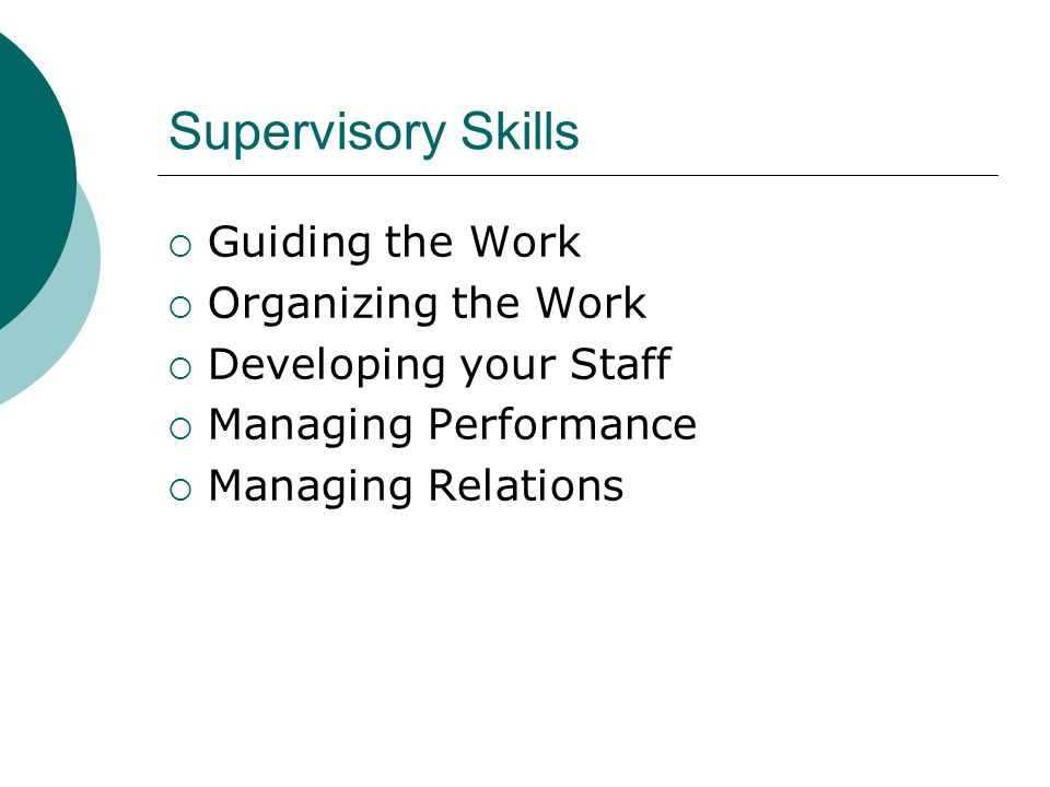 Supervisory Skills Guiding the Work Organizing the Work