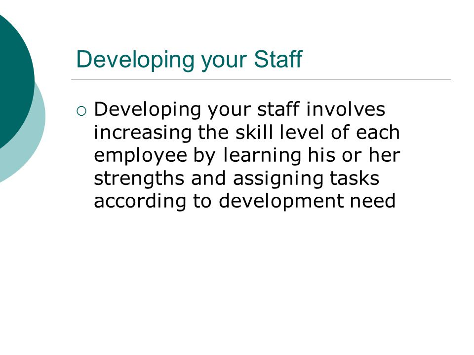 Developing your Staff