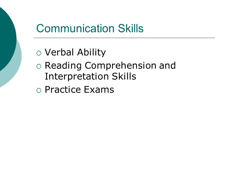 Communication Skills Verbal Ability