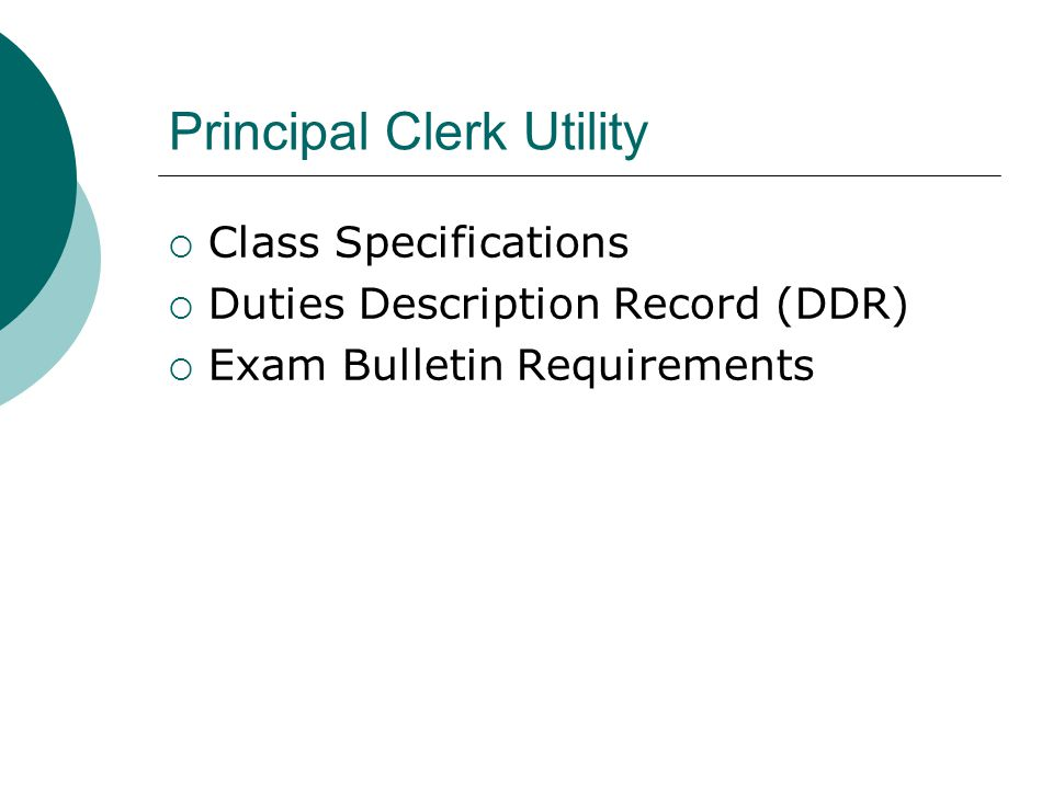 Principal Clerk Utility