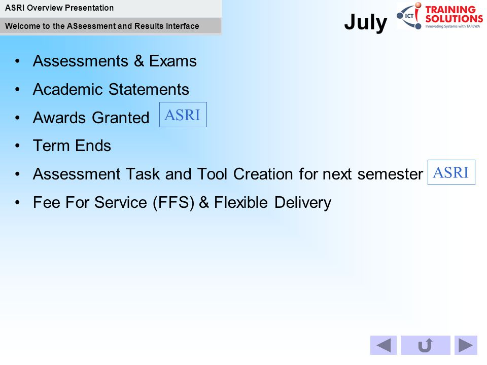 July Assessments & Exams Academic Statements Awards Granted Term Ends