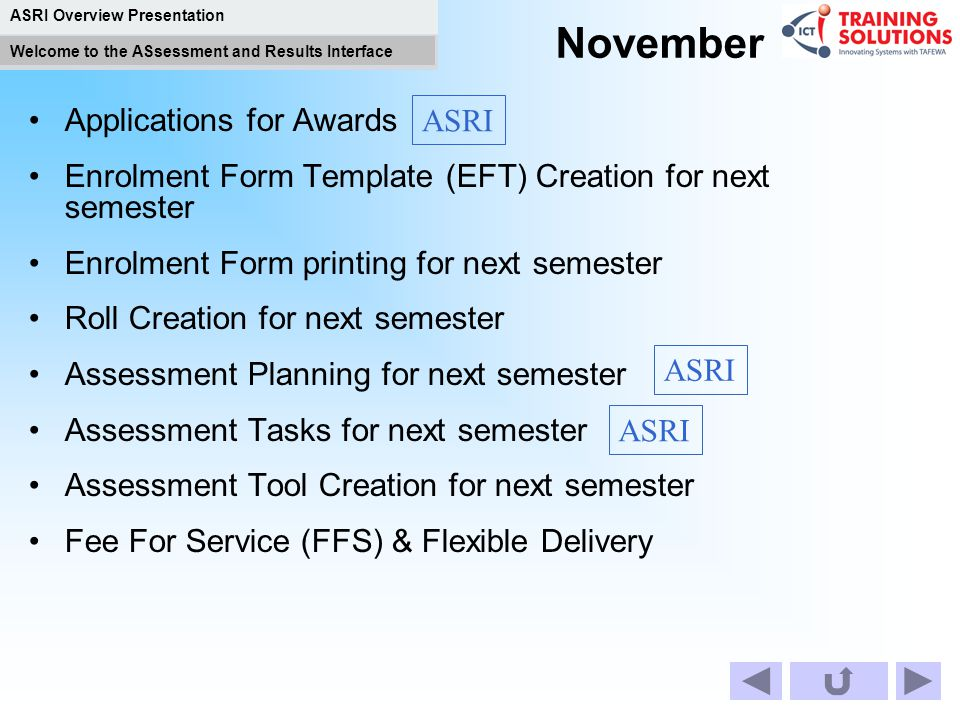 November ASRI Applications for Awards