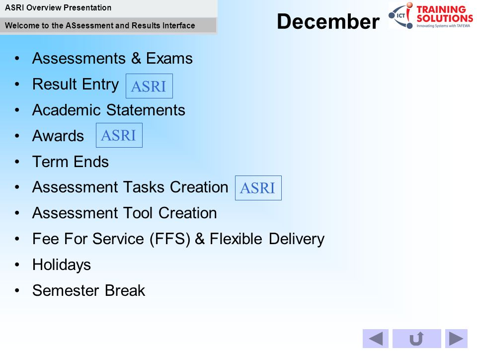 December Assessments & Exams Result Entry Academic Statements ASRI