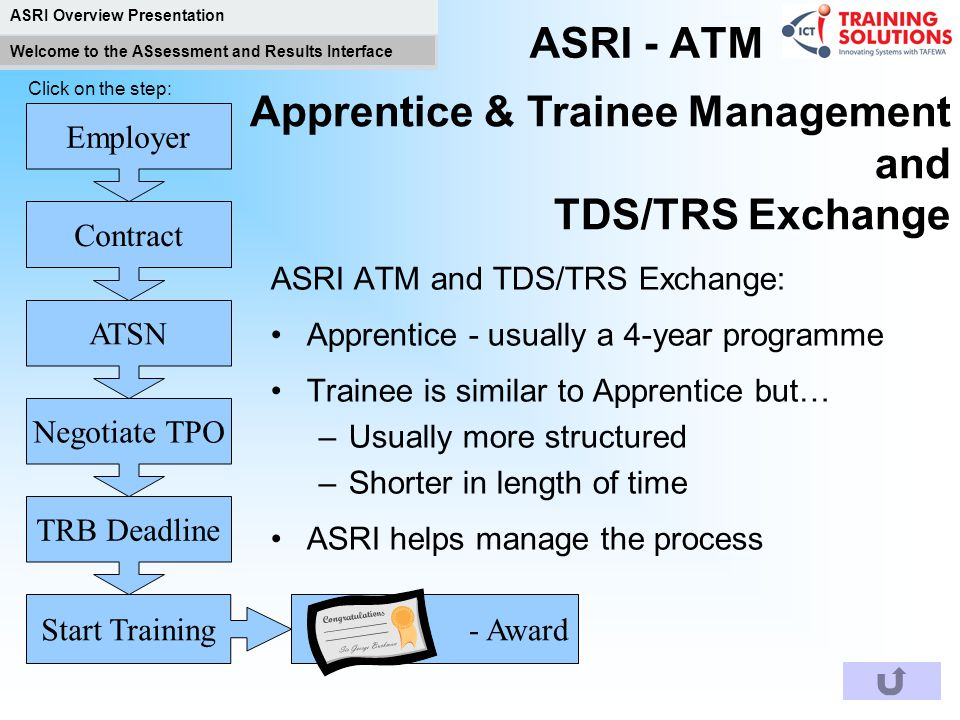 Apprentice & Trainee Management and TDS/TRS Exchange