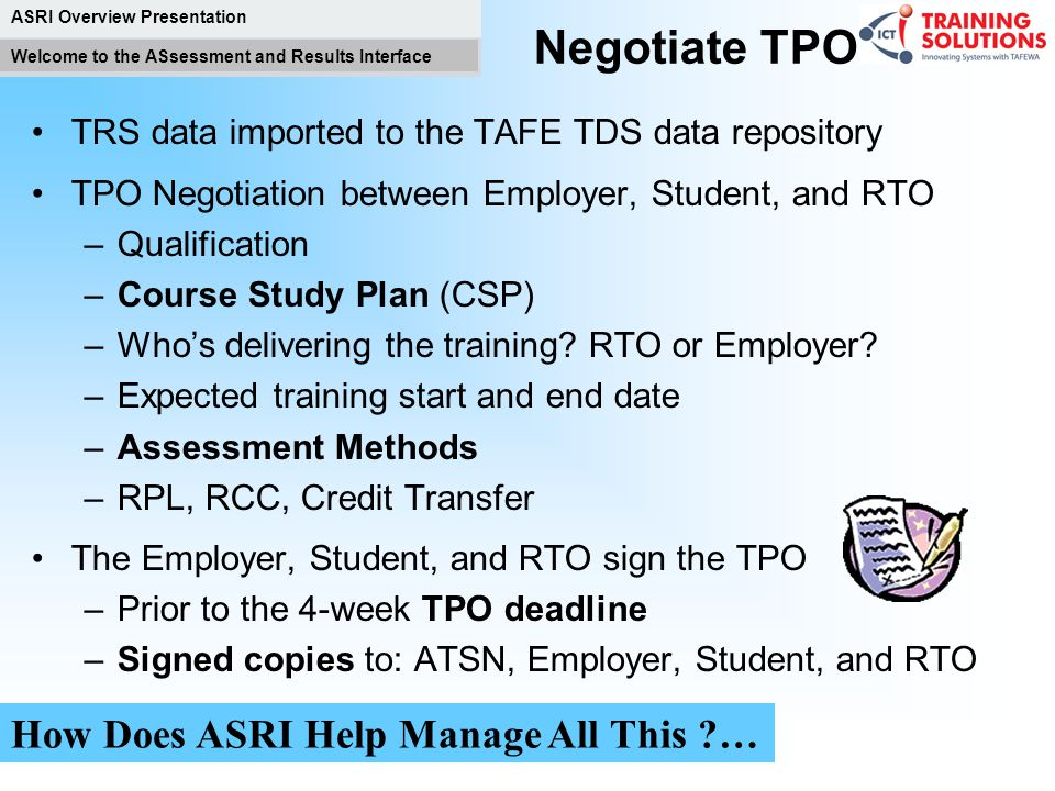 Negotiate TPO How Does ASRI Help Manage All This …