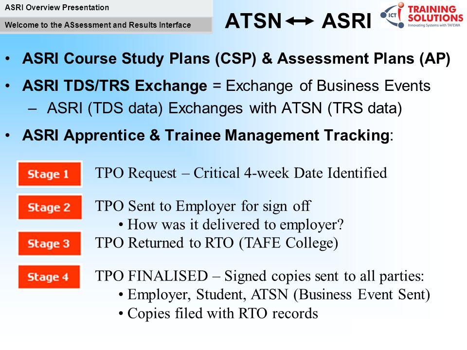 ATSN ASRI ASRI Course Study Plans (CSP) & Assessment Plans (AP)