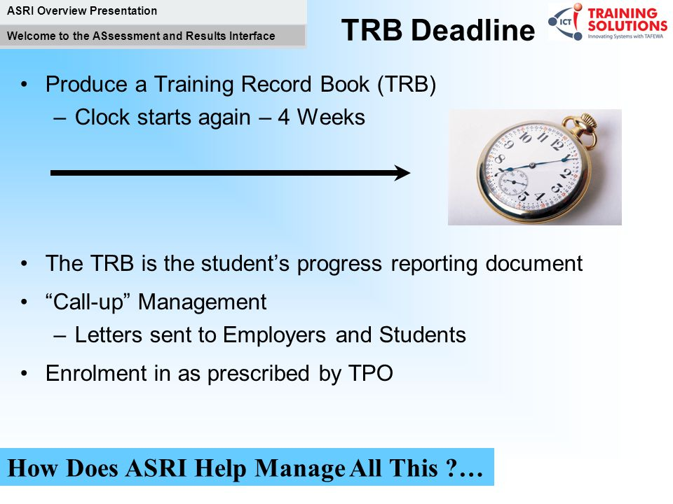 TRB Deadline How Does ASRI Help Manage All This …