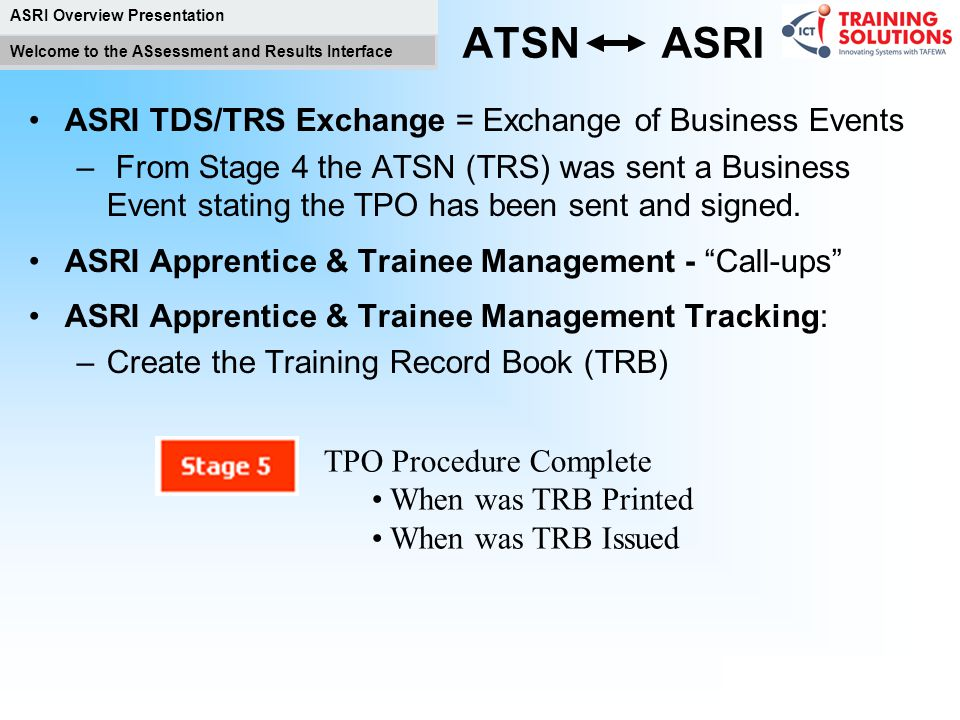 ATSN ASRI ASRI TDS/TRS Exchange = Exchange of Business Events