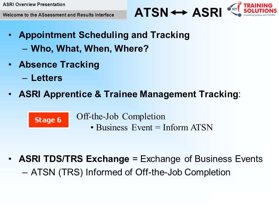 ATSN ASRI Appointment Scheduling and Tracking Who, What, When, Where