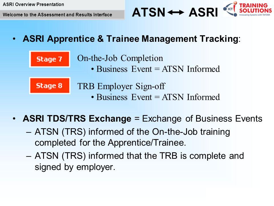 ATSN ASRI ASRI Apprentice & Trainee Management Tracking: