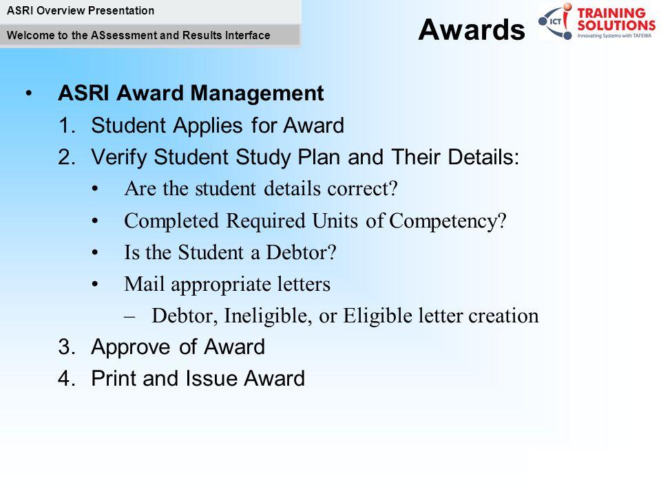 Awards ASRI Award Management Student Applies for Award