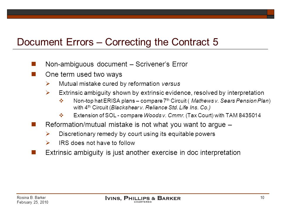 Document Errors – Correcting the Contract 5