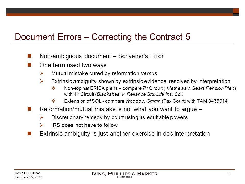 Document Errors – Correcting the Contract 5
