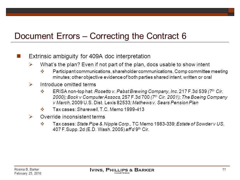 Document Errors – Correcting the Contract 6