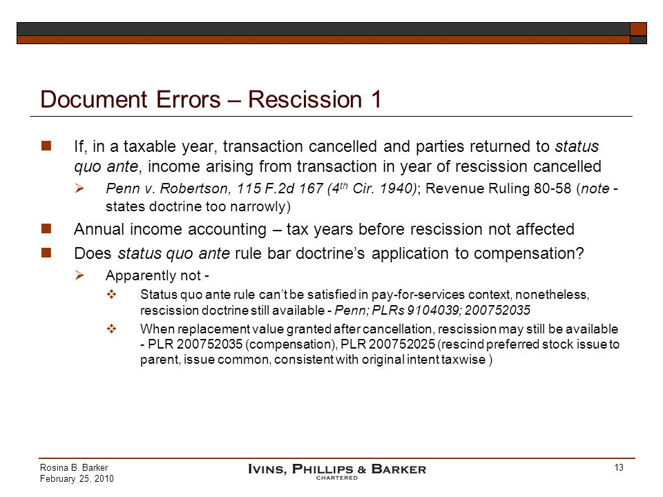 Document Errors – Rescission 1