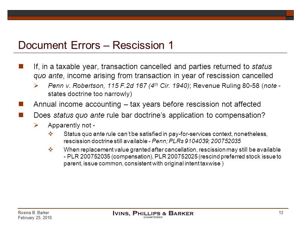 Document Errors – Rescission 1