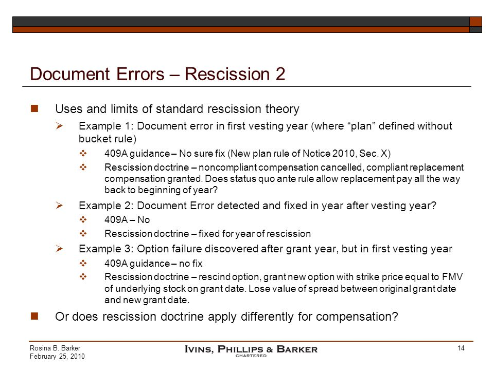 Document Errors – Rescission 2