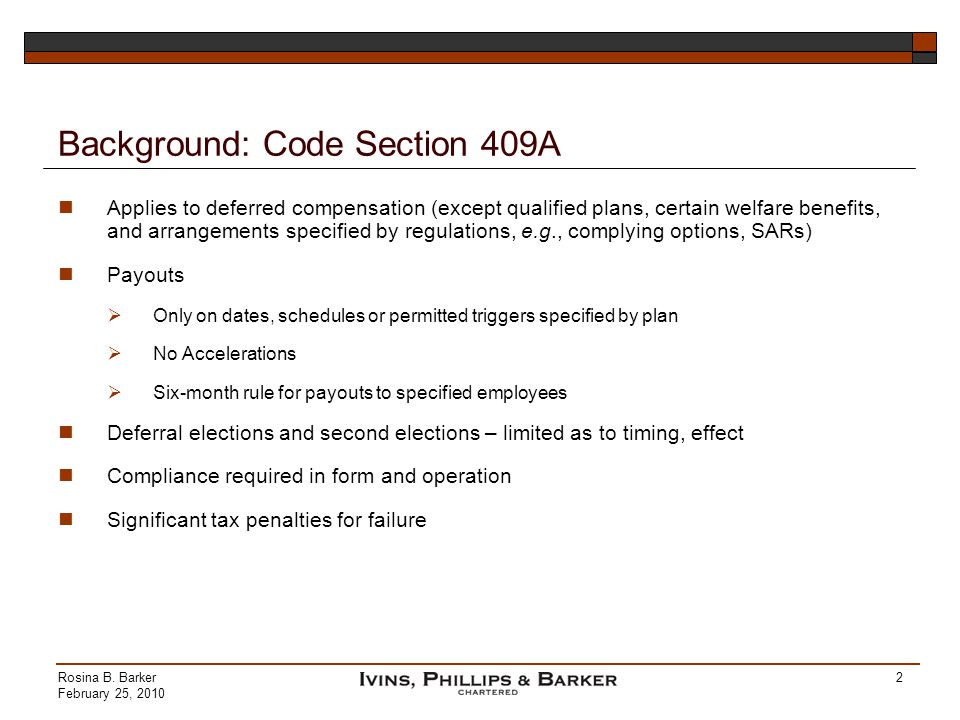 Background: Code Section 409A
