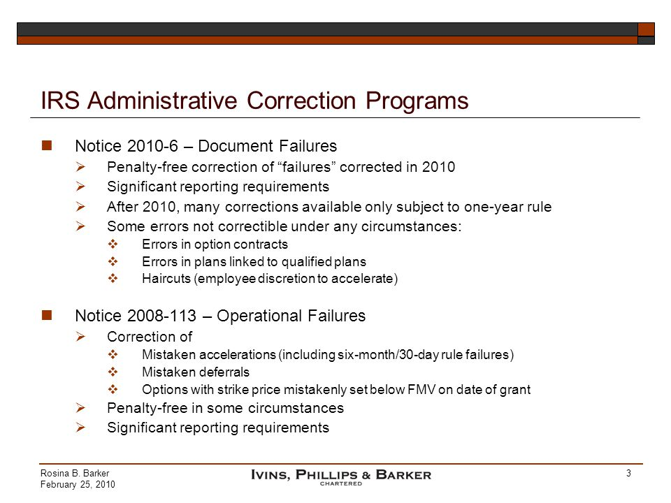 IRS Administrative Correction Programs