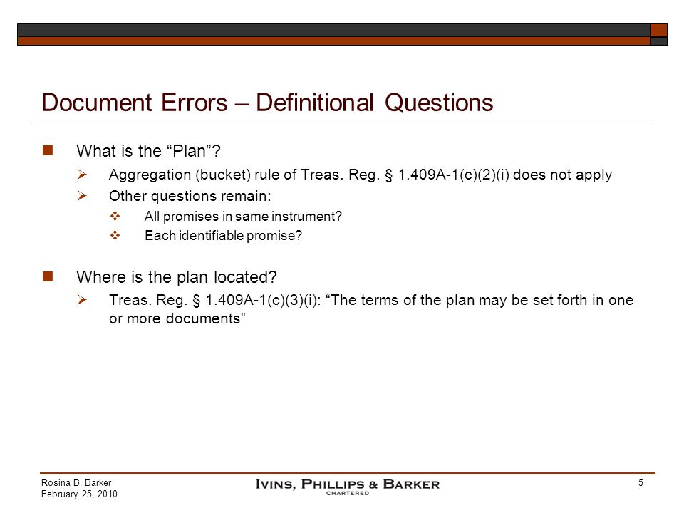 Document Errors – Definitional Questions