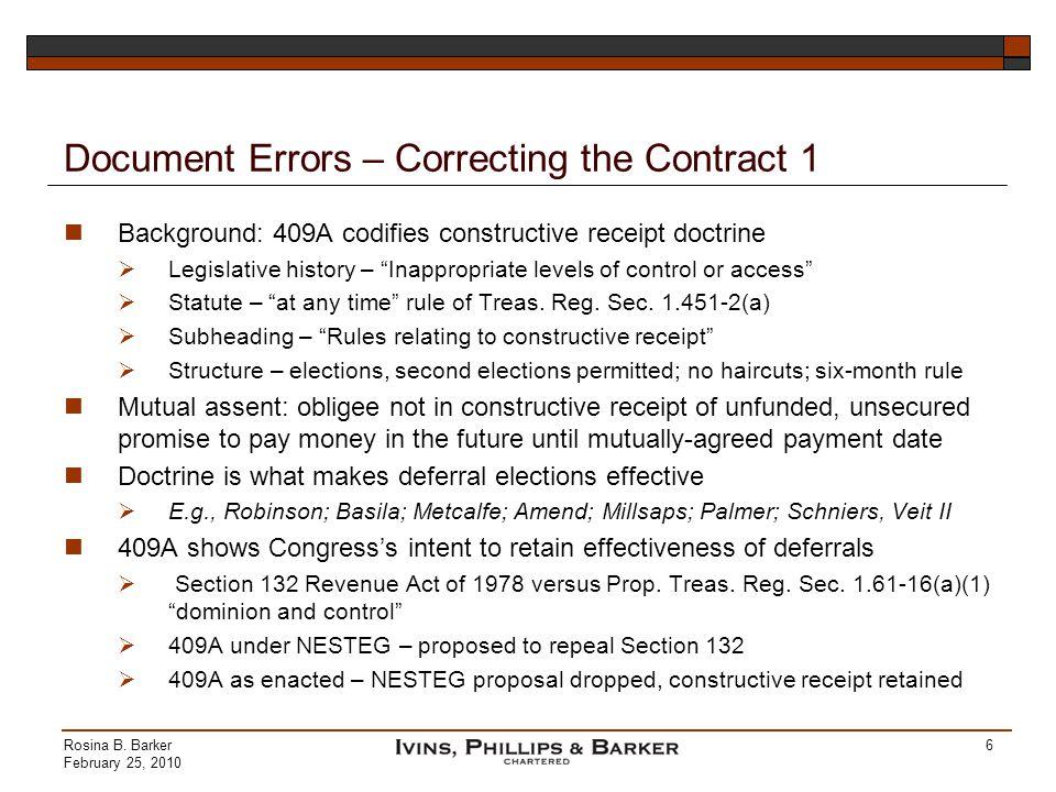 Document Errors – Correcting the Contract 1