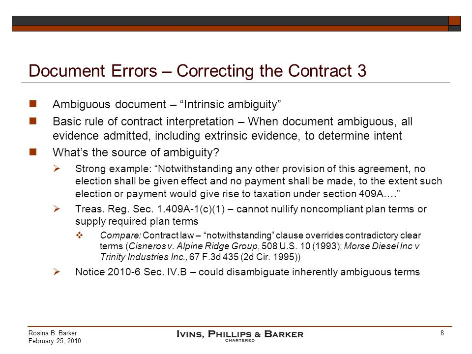Document Errors – Correcting the Contract 3