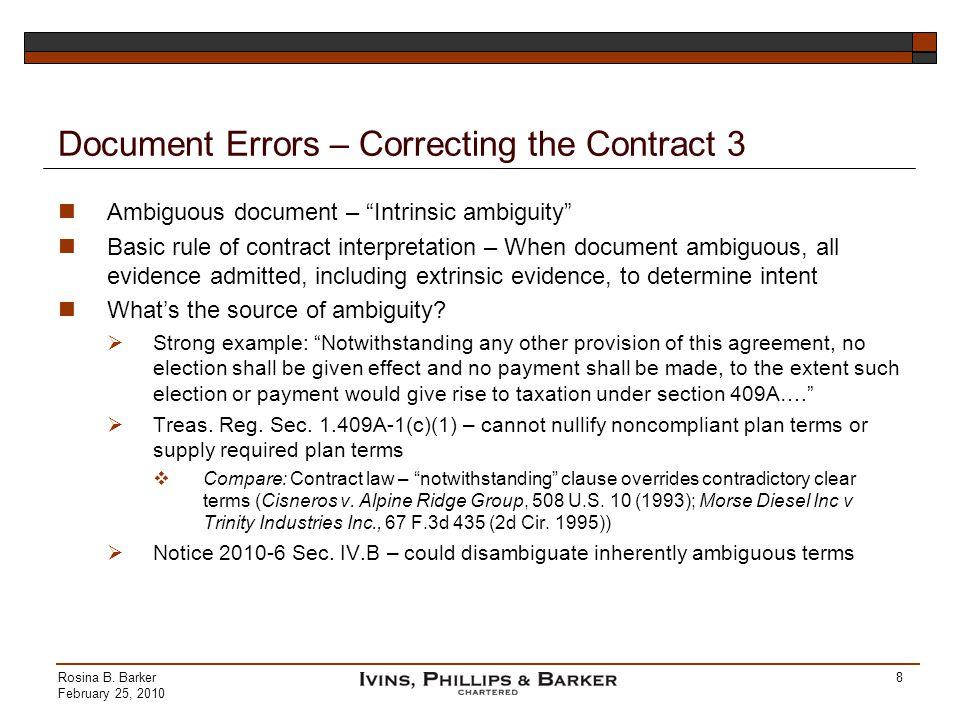 Document Errors – Correcting the Contract 3