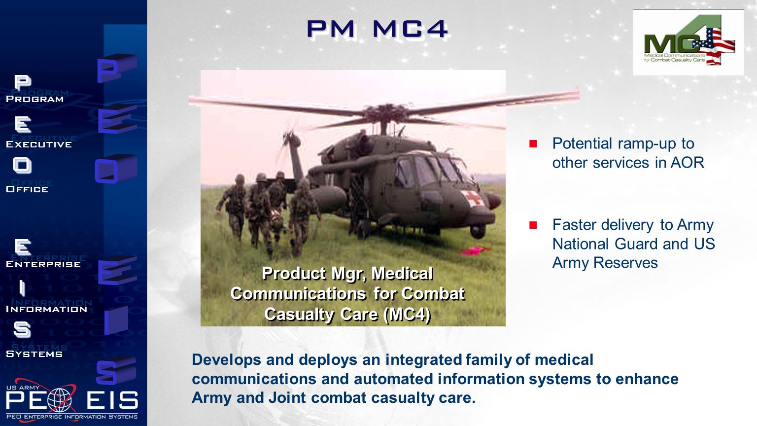 Product Mgr, Medical Communications for Combat Casualty Care (MC4)