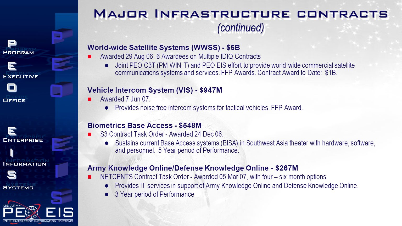 Major Infrastructure contracts (continued)