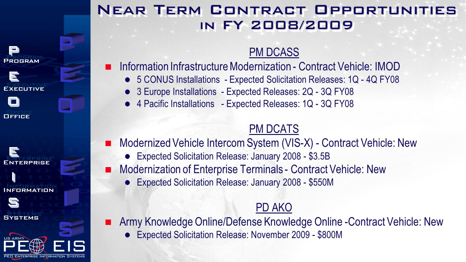 Near Term Contract Opportunities in FY 2008/2009