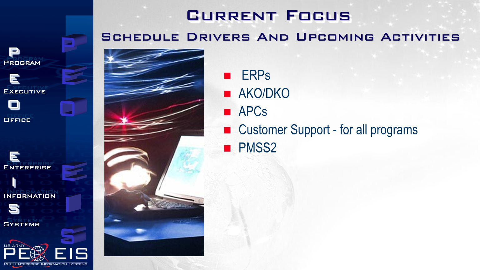 Current Focus Schedule Drivers And Upcoming Activities ERPs AKO/DKO