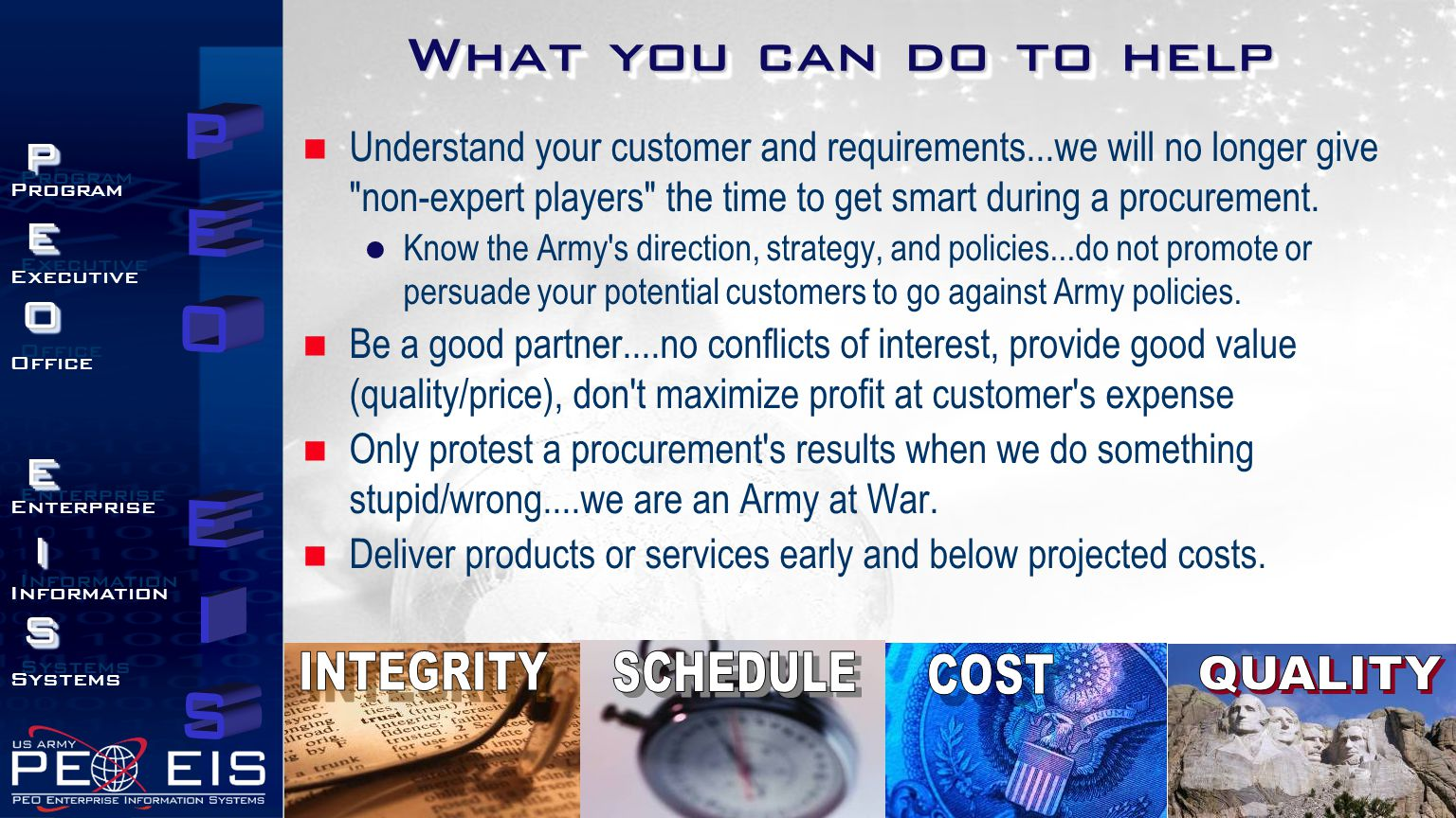 What you can do to help INTEGRITY SCHEDULE COST QUALITY