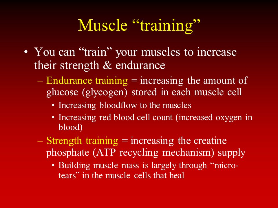 Muscle training You can train your muscles to increase their strength & endurance.